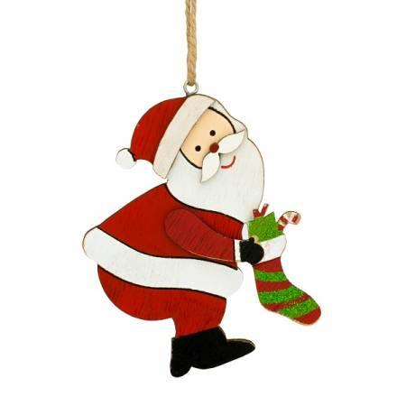 Декоративна підвіска 10 см, Санта з панчохою, дерев'яна, House of Seasons