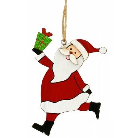 Декоративна підвіска, 10 см, Санта з подарунком, дерев'яна, House of Seasons