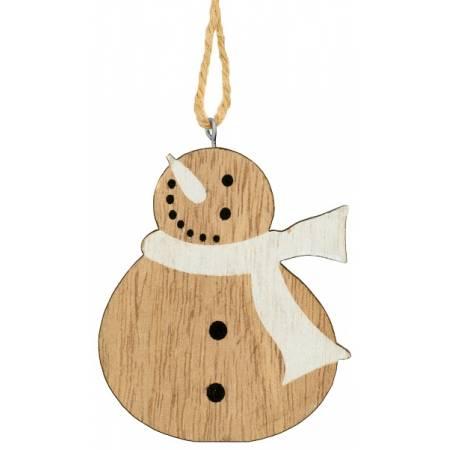 Декоративна підвіска 10 см, Сніговик, дерев'яна, House of Seasons