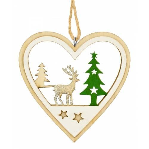 Декоративна підвіска 10 см, Серце, дерев'яна, House of Seasons