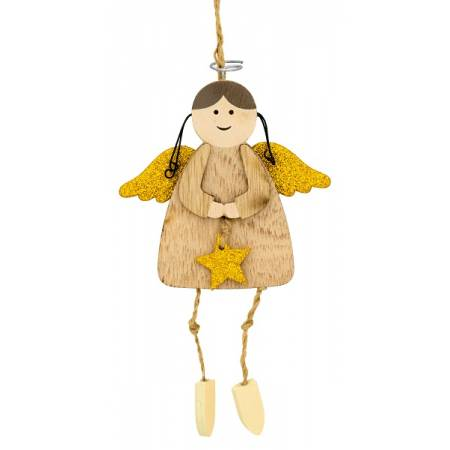 Декоративная подвеска 11 см, Ангел с нимбом, золотые крылья, House of Seasons