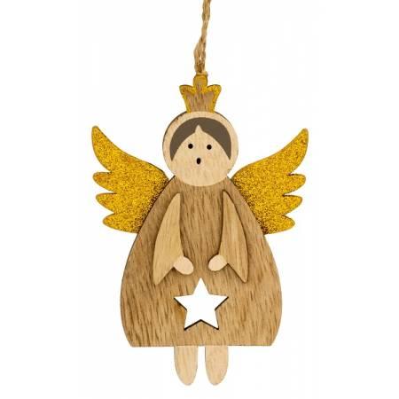 Декоративная подвеска 11 см, Ангел в короне, золотые крылья, деревянная, House of Seasons
