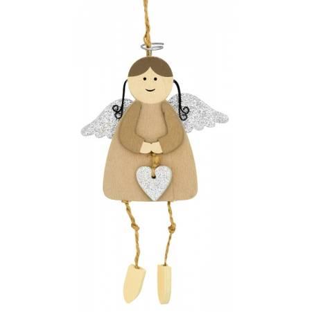 Декоративная подвеска 11 см, Ангел с нимбом, серебристые крылья, House of Seasons