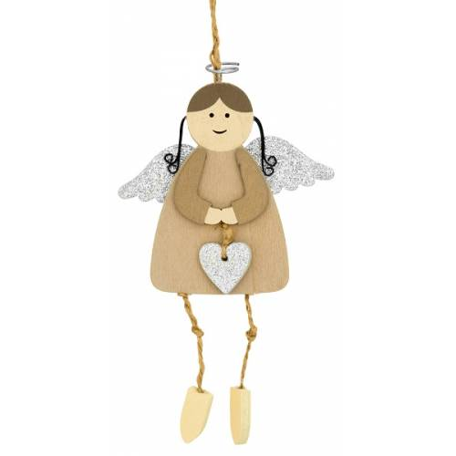 Декоративна підвіска 11 см, Ангел з німбом, сріблясті крила, House of Seasons