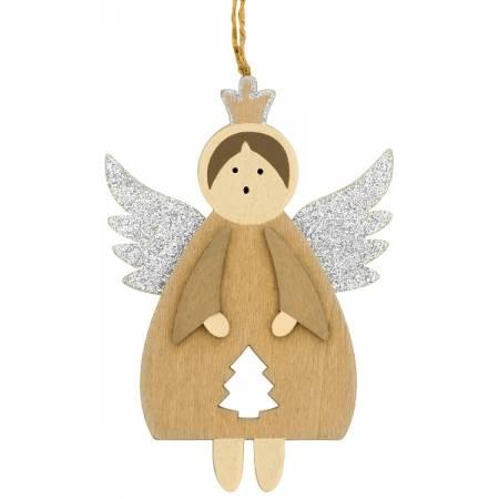 Декоративная подвеска 11 см, Ангел в короне, серебристые крылья, House of Seasons