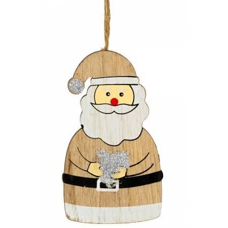 Декоративна підвіска 11 см, Санта, дерев'яна, House of Seasons