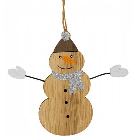 Декоративна підвіска 11 см, Сніговик, дерев'яна, House of Seasons