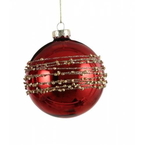 """Ялинкова скляна кулька, Ø 8 см., """"House of Seasons"""", колір червоний, глян."""