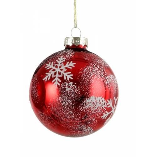 """Елочные стекляные шарики Снежинка, в асс., Ø 7 см., """"House of Seasons"""", красные, глян."""