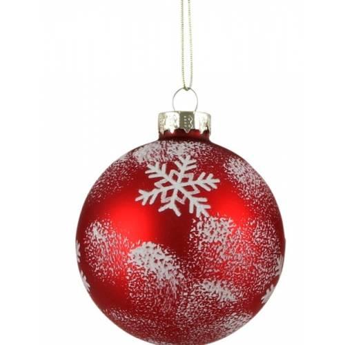 """Ялинкові скляні кульки Сніжинка, в ас., Ø 7 см., """"House of Seasons"""", червоні, мат."""