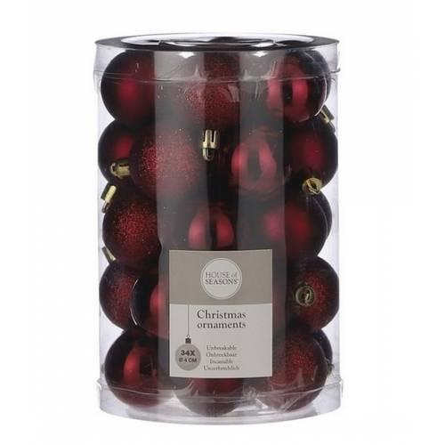 """Ялинкові кульки 34 шт, 4 см, """"House of Seasons"""" пластик, колір червоний"""