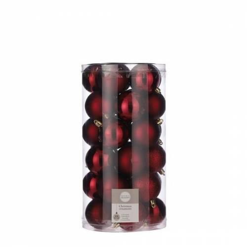 """Ялинкові кульки 30 шт, 6 см, """"House of Seasons"""" пластик, колір червоний"""