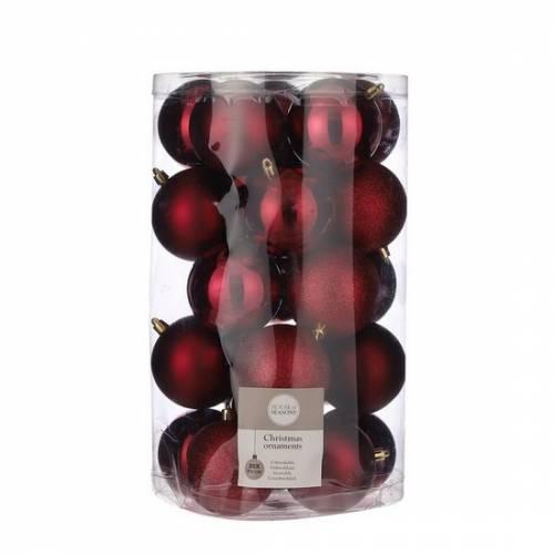 """Ялинкові кульки 25 шт, 8 см, """"House of Seasons"""" пластик, колір червоний"""