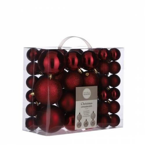 """Ялинкові кульки 46 шт, """"House of Seasons"""" пластик, колір червоний"""