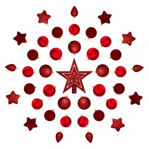 """Комплект ялинкових кульок і прикрас, 40 шт, """"House of Seasons"""", колір червоний"""
