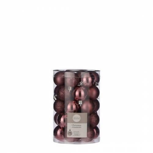 """Ялинкові кульки 34 шт, 4 см, """"House of Seasons"""" пластик, колір темно-рожевий"""