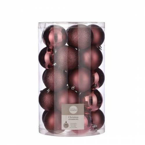 """Ялинкові кульки 25 шт, 8 см, """"House of Seasons"""" пластик, колір темно-рожевий"""