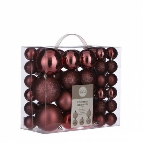 """Ялинкові кульки 46 шт, """"House of Seasons"""" пластик, колір темно-рожевий"""