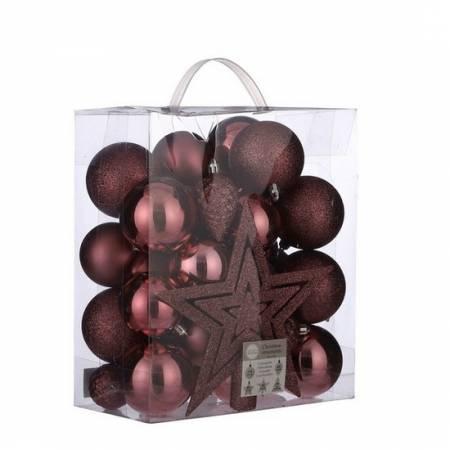 """Комплект ялинкових кульок і прикрас, 40 шт, """"House of Seasons"""", колір темно-рожевий"""