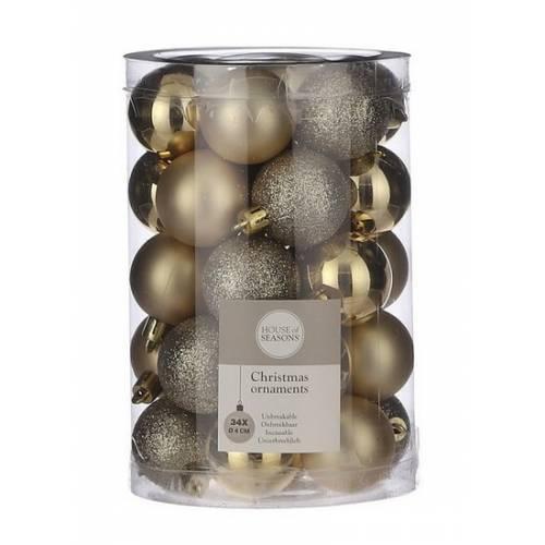 """Ялинкові кульки 34 шт, 4 см, """"House of Seasons"""" пластик, колір золотий"""