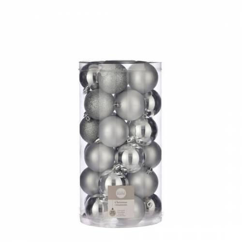 """Ялинкові кульки 30 шт, 6 см, """"House of Seasons"""" пластик, колір срібло"""