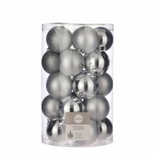 """Ялинкові кульки 25 шт, 8 см, """"House of Seasons"""" пластик, колір срібло"""