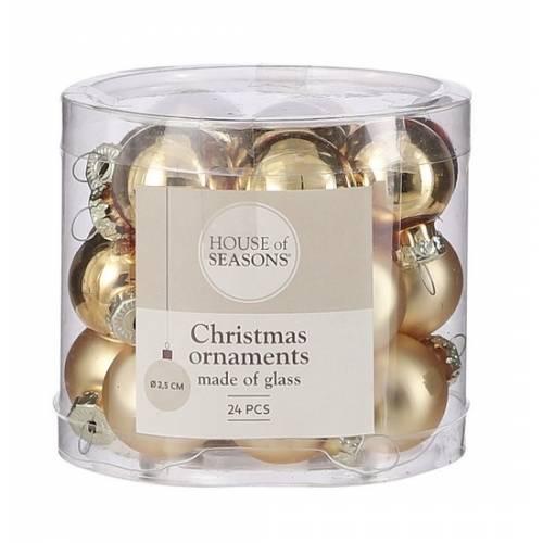 """Ялинкові скляні кульки 24 шт, 2,5 см, """"House of Seasons"""", колір золотий"""