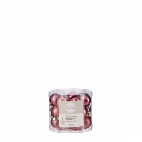"""Ялинкові скляні кульки 24 шт, 2,5 см, """"House of Seasons"""", колір рожевий"""
