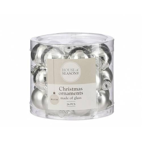 """Ялинкові кульки 24 шт, 2,5 см, """"House of Seasons"""" скло, колір срібло"""