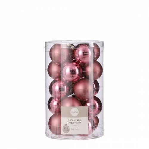 """Ялинкові скляні кульки 20 шт, 4 см, """"House of Seasons"""", колір рожевий"""