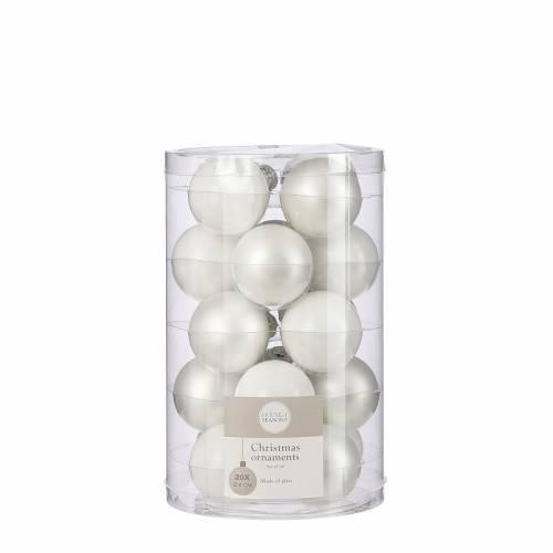 """Ялинкові скляні кульки 20 шт, 4 см, """"House of Seasons"""", колір білий"""