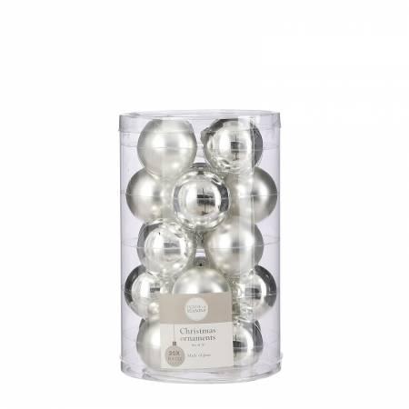"""Ялинкові скляні кульки 20 шт, 4 см, """"House of Seasons"""", колір сріблястий"""