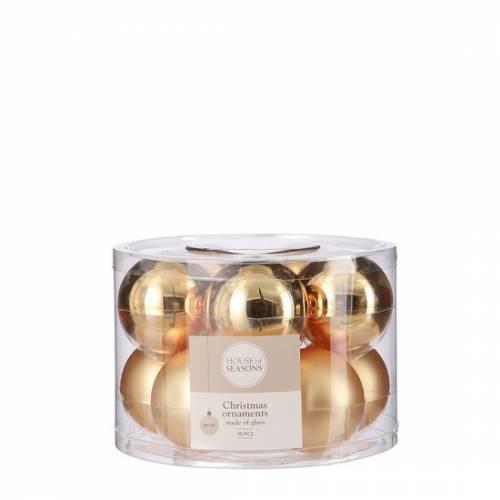 """Ялинкові скляні кульки 10 шт, 6 см, """"House of Seasons"""", колір золотий"""