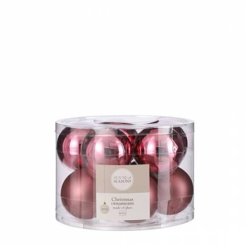 """Ялинкові скляні кульки 10 шт, 6 см, """"House of Seasons"""", колір рожевий"""