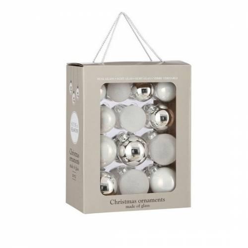 """Ялинкові кульки 26 шт, Ø 7/6/5 см, """"House of Seasons"""" комплект, колір білий"""