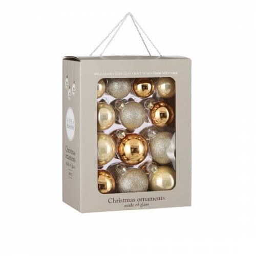 """Ялинкові кульки 26 шт, Ø 7/6/ 5 см., """"House of Seasons"""" комплект, цвет шампань"""