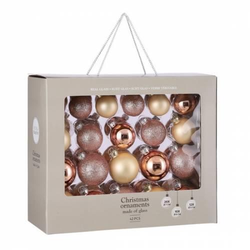 """Ялинкові кульки 42 шт, Ø 7/6/5 см, """"House of Seasons"""" комплект, колір рожевий"""