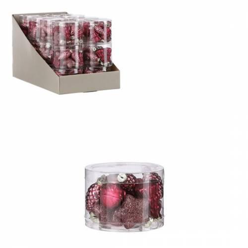 """Ялинкові скляні прикраси 14 шт. в асорт. """"House of Seasons"""", колір т.-рожевий"""