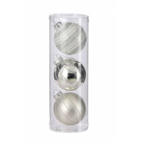 """Ялинкові кульки 3 шт, 7 см, """"House of Seasons"""" скло, колір срібло"""
