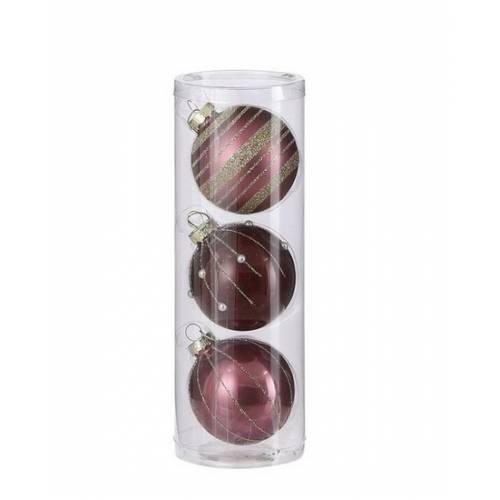 """Ялинкові кульки 3 шт, 7 см, """"House of Seasons"""" скло, колір рожевий"""