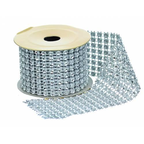 """Стрічка декоративна з паєтками, 1.0 м, текстиль, """"Jumi"""", колір срібний"""