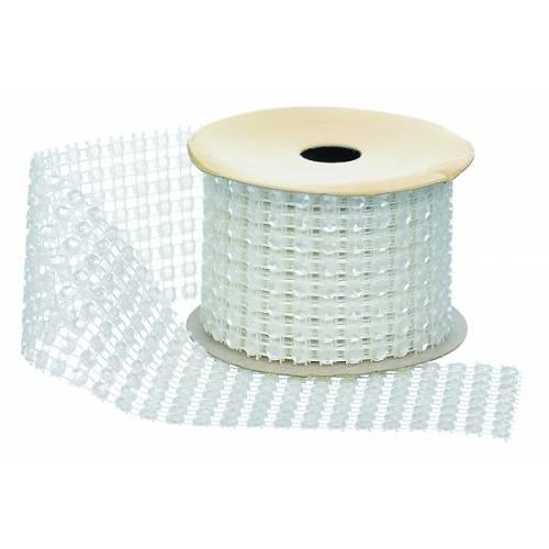"""Стрічка декоративна з паєтками, 1.0 м, текстиль, """"Jumi"""", колір білий"""