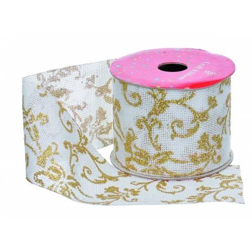 """Стрічка декоративна з візерунком 2.7 м, текстиль, """"Jumi"""", білий з золотим візерунком"""