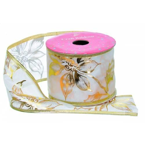 """Стрічка декоративна з візерунком 2.7 м, текстиль, """"Jumi"""", білий з золотими квітами"""