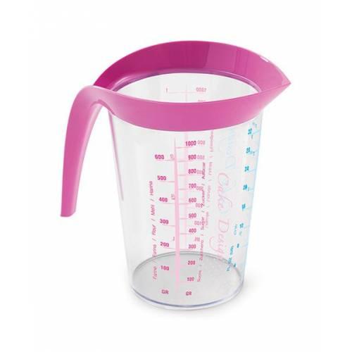 Мірна склянка 1 л, рожева
