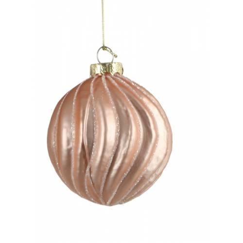 """Ялинкові скляні кульки рожеві в ас., Ø 8 см., """"House of Seasons"""", Хвиля"""