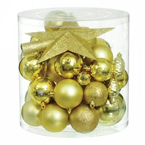 Набор новогодних украшений в ассортименте, 40 шт. золотой