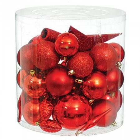 Набір новорічних прикрас в асортименті, 40 шт. червоний