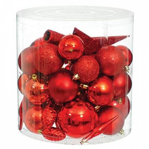 Набор новогодних украшений в ассортименте, 40 шт. красный