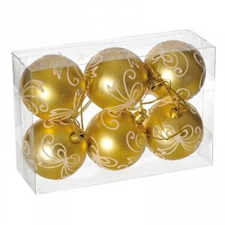 Набір кульок з візерунком, 6 шт. 6 см. золотий